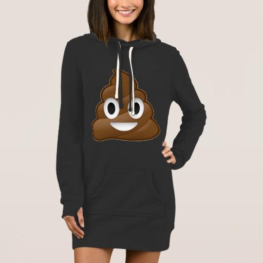 Smiling Poop Emoji Women's Hoodie Dress