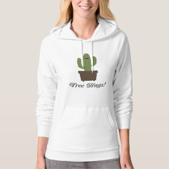 Cactus Offering Free Hugs American Apparel California Fleece Pullover Hoodie