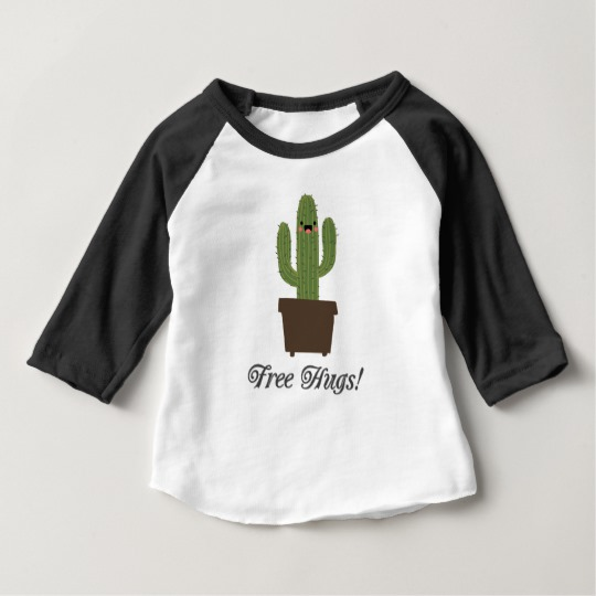 Cactus Offering Free Hugs Baby American Apparel 3/4 Sleeve Raglan T-Shirt