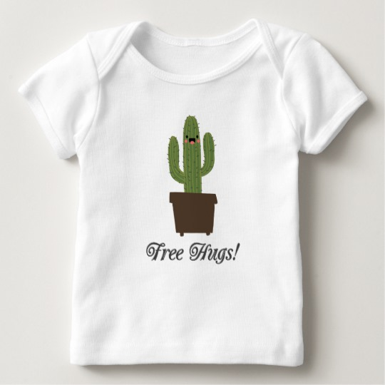 Cactus Offering Free Hugs Baby American Apparel Lap T-Shirt