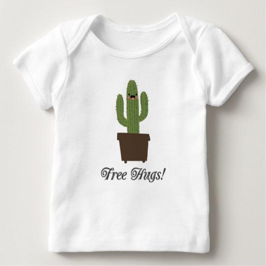 Cactus Offering Free Hugs Baby American Apparel Lap T-Shirt