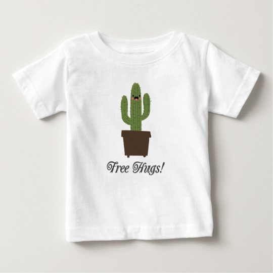 Cactus Offering Free Hugs Baby Fine Jersey T-Shirt