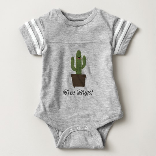Cactus Offering Free Hugs Baby Football Bodysuit