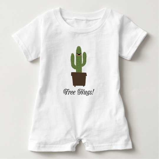 Cactus Offering Free Hugs Baby Romper