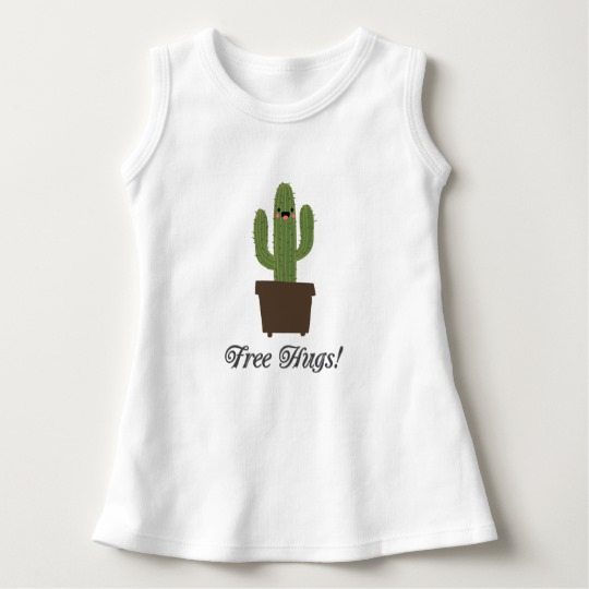 Cactus Offering Free Hugs Baby Sleeveless Dress