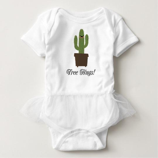 Cactus Offering Free Hugs Baby Tutu Bodysuit