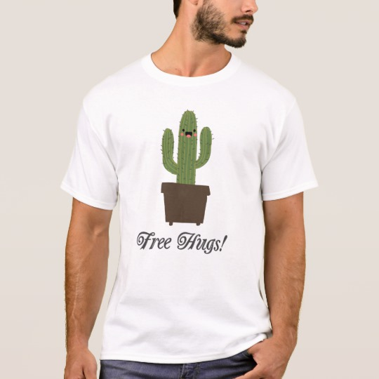Cactus Offering Free Hugs Basic T-Shirt