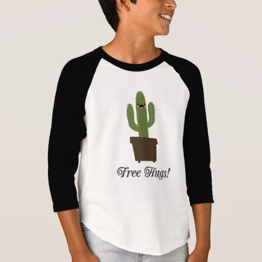 Cactus Offering Free Hugs Boys' American Apparel 3/4 Sleeve Raglan T-Shirt
