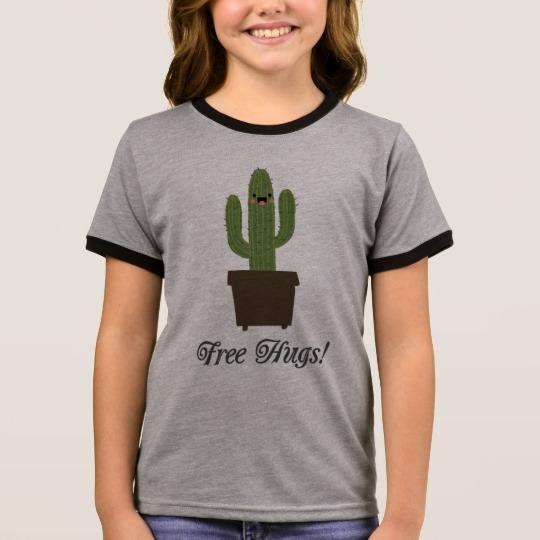 Cactus Offering Free Hugs Girl's Ringer T-Shirt
