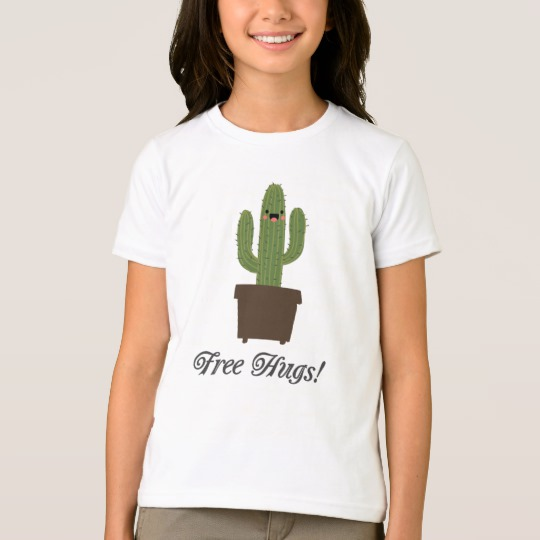 Cactus Offering Free Hugs Girls' American Apparel Fine Jersey T-Shirt