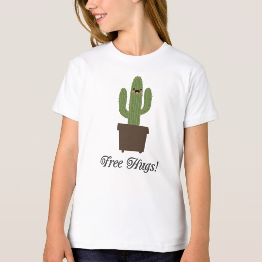 Cactus Offering Free Hugs Girls' American Apparel Organic T-Shirt