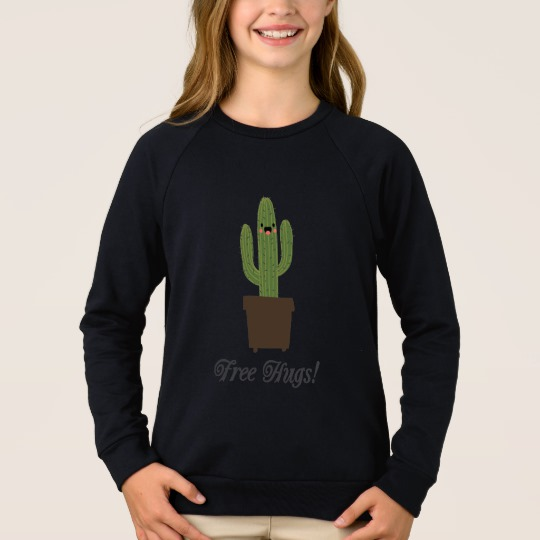 Cactus Offering Free Hugs Girls' American Apparel Raglan Sweatshirt