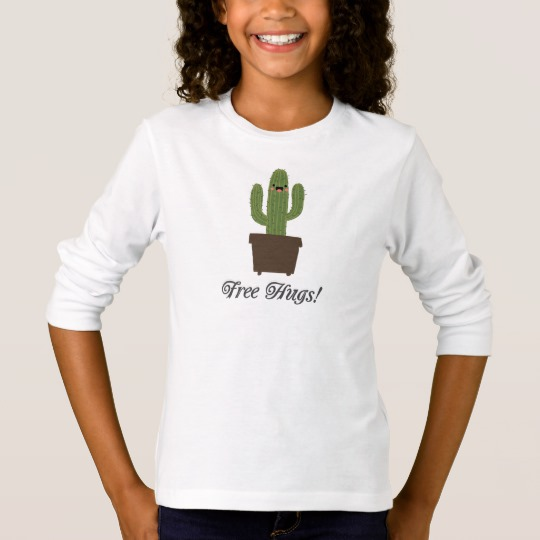 Cactus Offering Free Hugs Girls' Basic Long Sleeve T-Shirt