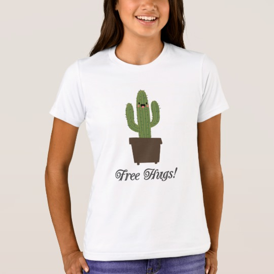 Cactus Offering Free Hugs Girls' Bella+Canvas Crew T-Shirt