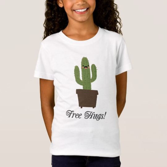 Cactus Offering Free Hugs Girls' Fine Jersey T-Shirt