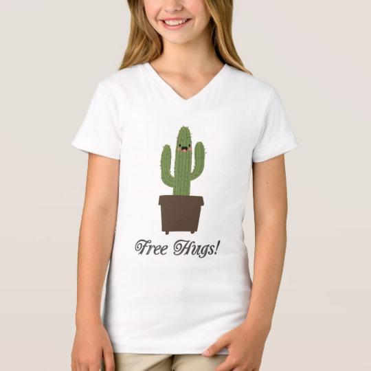 Cactus Offering Free Hugs Girls' Fine Jersey V-Neck T-Shirt