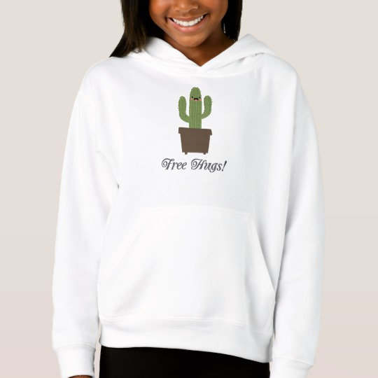 Cactus Offering Free Hugs Girls' Fleece Pullover Hoodie