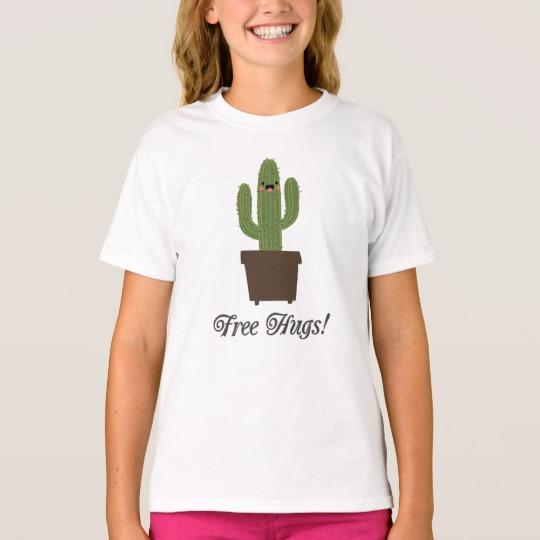 Cactus Offering Free Hugs Girls' Hanes TAGLESS® T-Shirt