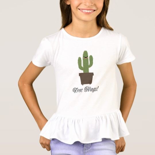 Cactus Offering Free Hugs Girls' Ruffle T-Shirt