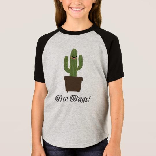 Cactus Offering Free Hugs Girls' Short Sleeve Raglan T-Shirt