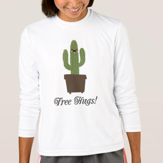 Cactus Offering Free Hugs Girls' Sport-Tek Competitor Long Sleeve T-Shirt