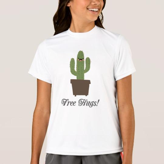 Cactus Offering Free Hugs Girls' Sport-Tek Competitor T-Shirt