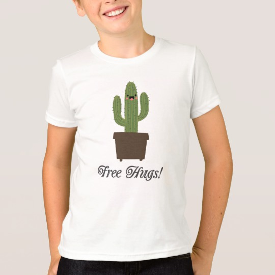 Cactus Offering Free Hugs Kids' American Apparel Fine Jersey T-Shirt
