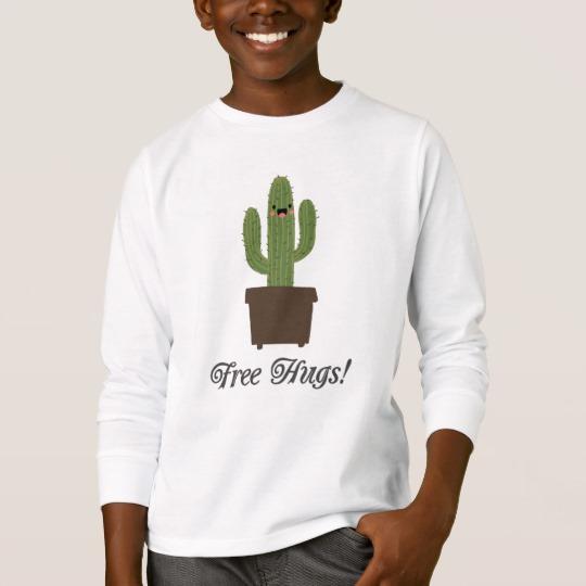 Cactus Offering Free Hugs Kids' Basic Long Sleeve T-Shirt