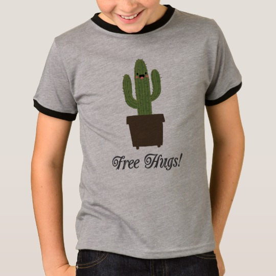 Cactus Offering Free Hugs Kids' Basic Ringer T-Shirt