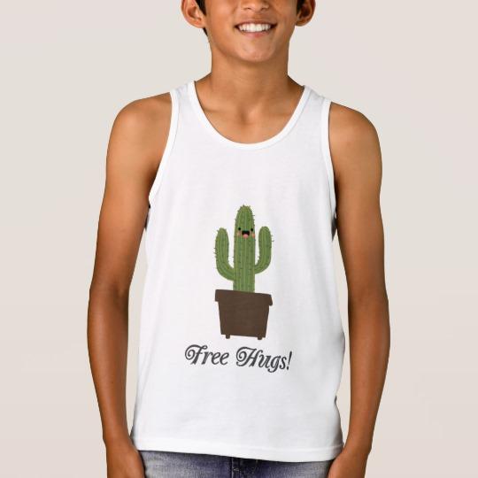 Cactus Offering Free Hugs Kids' Bella+Canvas Jersey Tank Top