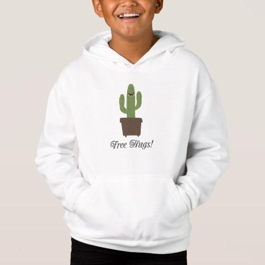 Cactus Offering Free Hugs Kids' Fleece Pullover Hoodie