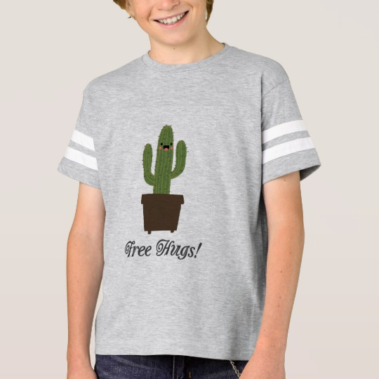 Cactus Offering Free Hugs Kids' Football Shirt