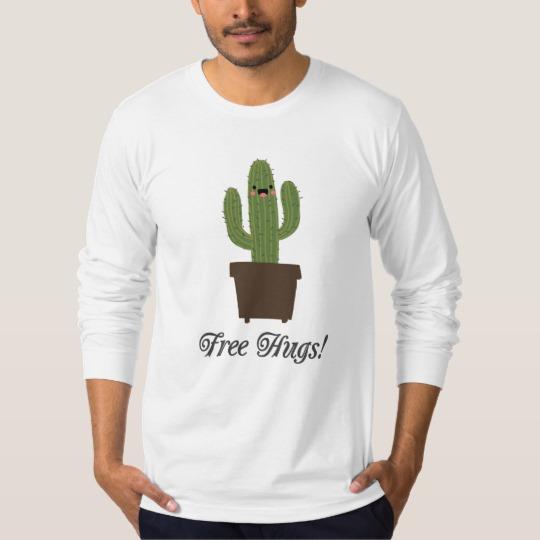 Cactus Offering Free Hugs Men's American Apparel Fine Jersey Long Sleeve T-Shirt