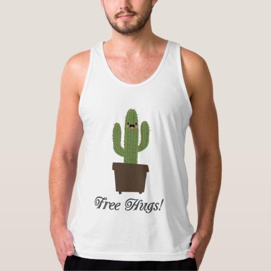 Cactus Offering Free Hugs Men's American Apparel Fine Jersey Tank Top