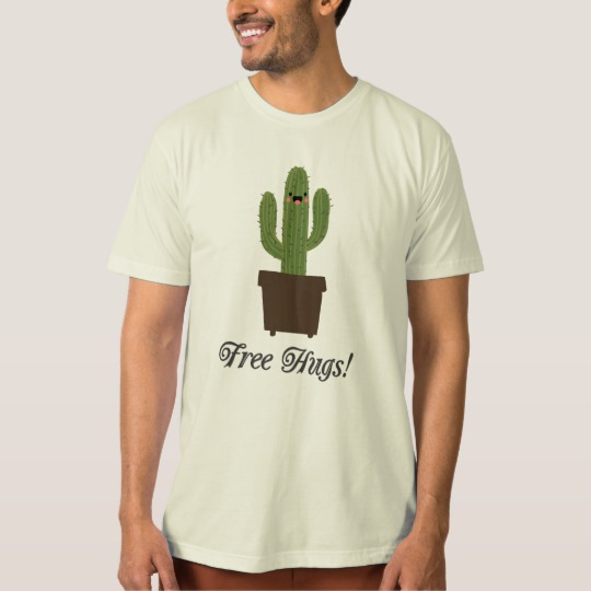 Cactus Offering Free Hugs Men's American Apparel Organic T-Shirt