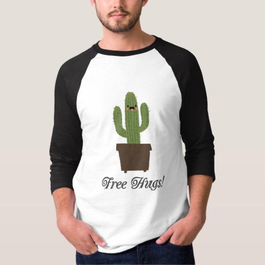 Cactus Offering Free Hugs Men's Basic 3/4 Sleeve Raglan T-Shirt
