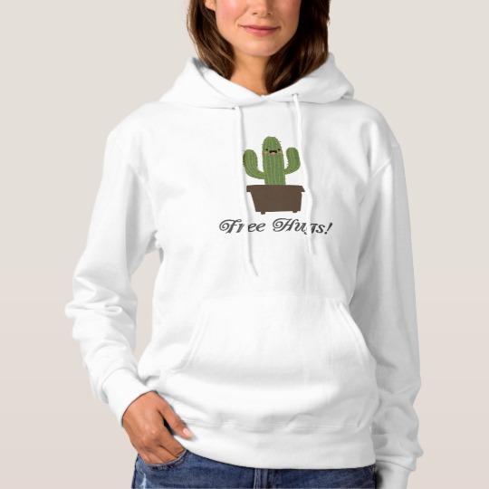 Cactus Offering Free Hugs Men's Basic Hooded Sweatshirt