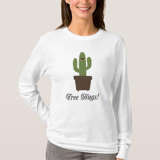 Cactus Offering Free Hugs Men's Basic Long Sleeve T-Shirt