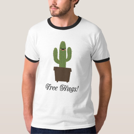 Cactus Offering Free Hugs Men's Basic Ringer T-Shirt