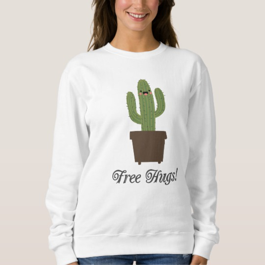 Cactus Offering Free Hugs Men's Basic Sweatshirt