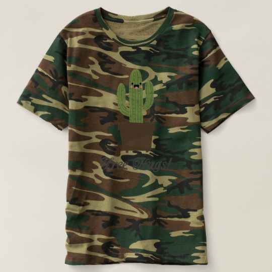 Cactus Offering Free Hugs Men's Camouflage T-Shirt