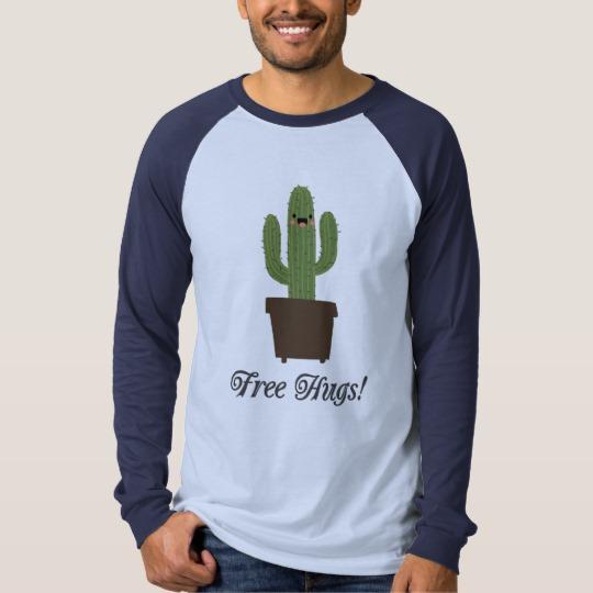Cactus Offering Free Hugs Men's Canvas Long Sleeve Raglan T-Shirt