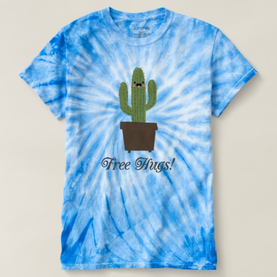 Cactus Offering Free Hugs Men's Cyclone Tie-Dye T-Shirt