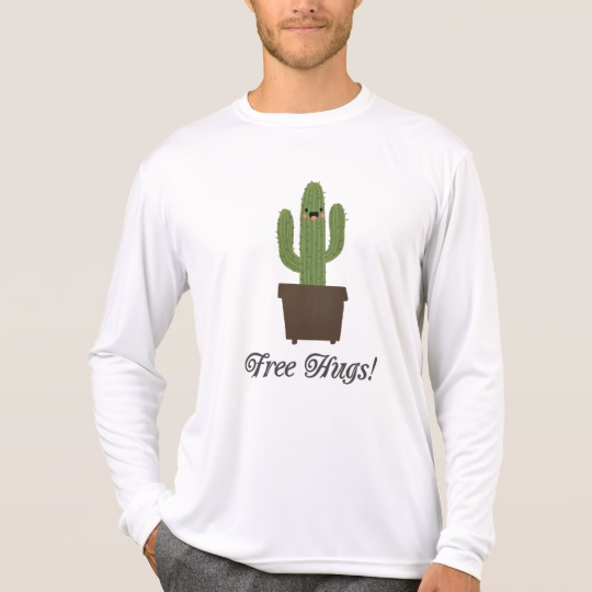 Cactus Offering Free Hugs Men's Sport-Tek Competitor Long Sleeve T-Shirt