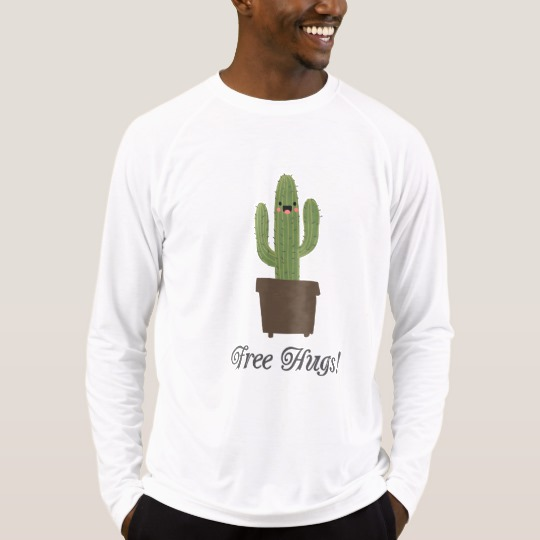 Cactus Offering Free Hugs Men's Sport-Tek Fitted Performance Long Sleeve T-Shirt