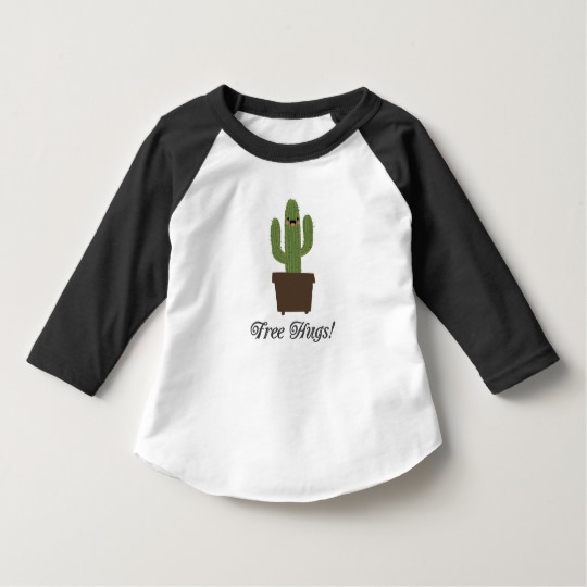 Cactus Offering Free Hugs Toddler American Apparel 3/4 Sleeve Raglan T-Shirt