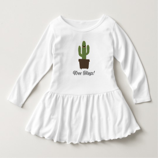 Cactus Offering Free Hugs Toddler Ruffle Dress