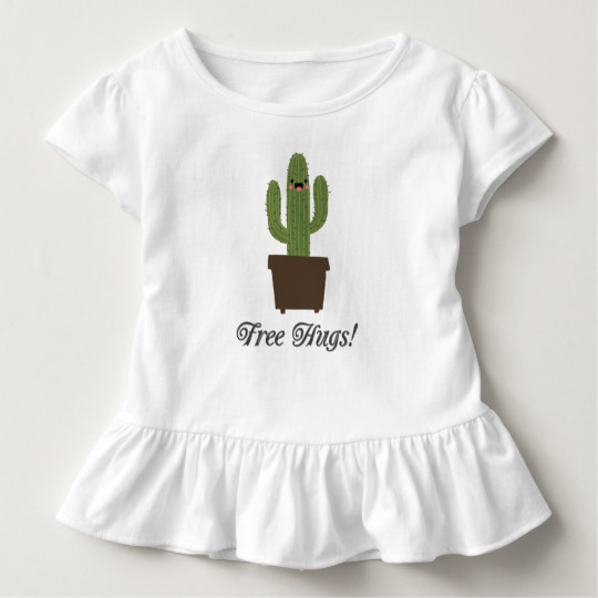 Cactus Offering Free Hugs Toddler Ruffle Tee