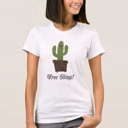 Cactus Offering Free Hugs Women's American Apparel Fine Jersey T-Shirt