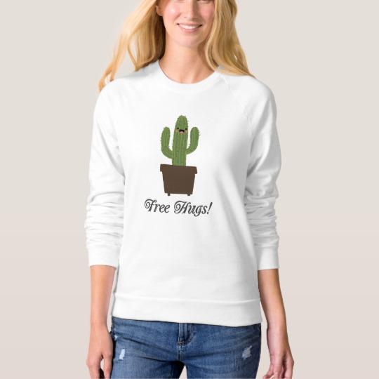 Cactus Offering Free Hugs Women's American Apparel Raglan Sweatshirt